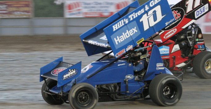 Mitch Brown of Brantford, Ont. won the first two Southern Ontario Sprints races at Brighton earlier this season in his No.10. Brown also leads the Sprint Car points at Ohsweken Speedway. (Rod Henderson photo).