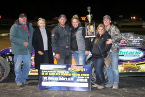 Andrew Hennessy won the Danny Reid Memorial for the Bainer's OilGARD Canadian Modifieds for the second straight year. (Rod Henderson photo).